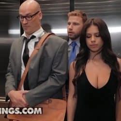 Tetona Autumn Falls follando duro en el ascensor del trabajo con su jefe